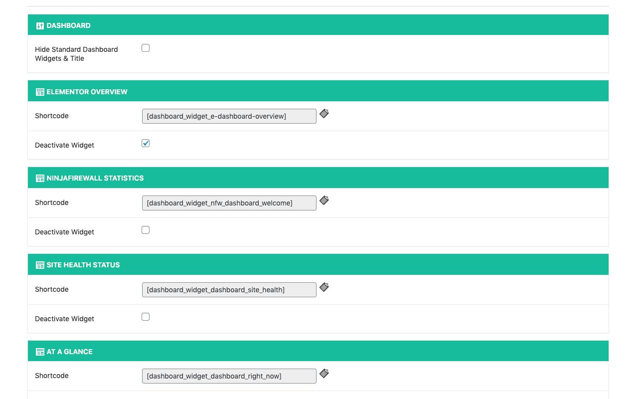 Dashboard Widgets -> Shortcodes 2